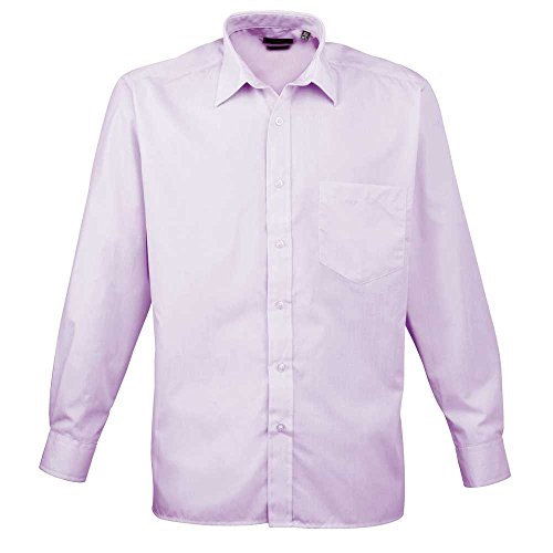 Premier Workwear Herren Businesshemd Poplin Long Sleeve Shirt Lilac