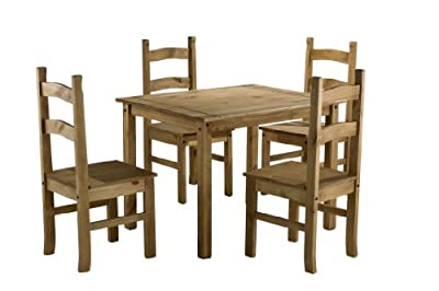 Birlea Corona Budget Dining Set (Table and 4 Chairs) - Waxed Pine - low-cost UK dining table shop.