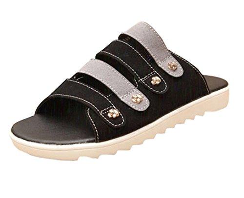 KISS GOLD (TM) Herren Pantoffeln Sandalen aus Gummi Schwarz+Grau -A