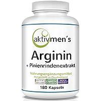 aktivmen´s Arginin plus Pinienrindenextrakt (OPC) HOCHDOSIERT - L-Arginin Base 3600 + Pinus pinaster Extrakt 120:1 | 180 Kapseln, 1 Dose (1 x 135 g) Premium-Qualität, hergestellt in Deutschland