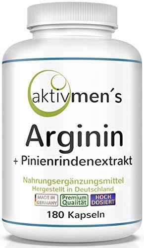 aktivmen´s Arginin plus Pinienrindenextrakt (OPC) HOCHDOSIERT - 180 Kapseln, L-Arginin Base 3600 + Pinus pinaster Extrakt 100:1 | 1 Dose (1 x 135 g) Premium-Qualität, hergestellt in Deutschland