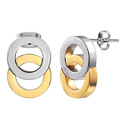 Burenqi orecchini a bottone in oro bianco con simbolo di infinito,in acciaio inossidabile,argento