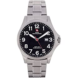 Swiss Mountaineer Mens Watch Silver Tone Stainless Steel Band Black Easy Read Dial Date SM8030