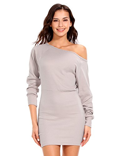 0e378c9378 ISASSY Women s Off Shoulder Long Sleeve Jumper Bodycon Bandage Party  Evening Slim Sweater Mini Dress Shirt Top
