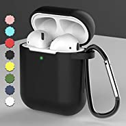 AMERTEER Airpods Case, Coffea AirPods Accessories Shockproof Case Cover Portable & Protective Silicone Skin Cover Case for Airpods 2 & 1 (Black)