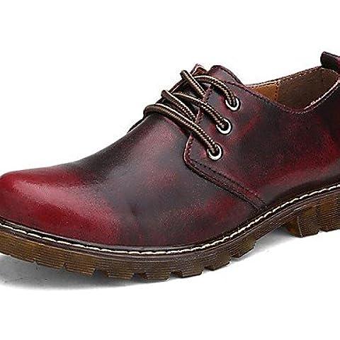 ZQ Zapatos de mujer-Tacón Plano-Confort / Patines-Oxfords-Exterior / Casual / Deporte-Cuero de Napa-Marrón / Rojo , brown-us11 / eu43 / uk9 / cn44 , brown-us11 / eu43 / uk9 /