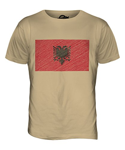 CandyMix Albania Bandiera Scarabocchio T-Shirt da Uomo Maglietta Caramello