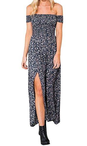 Hikong Vestiti Lunghi Donna Eleganti da Cerimonia Abito Maxi da Sera Mare Spiaggia Fuori-Spalla Floreale Stampato Blu