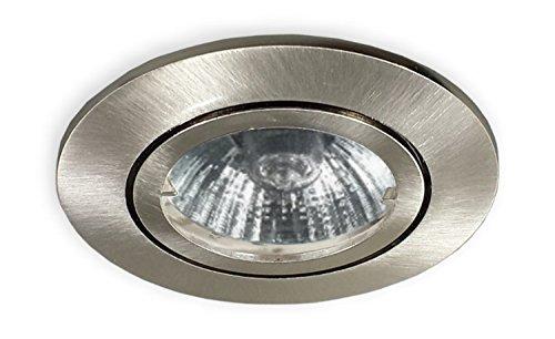 GU10 Einbaustrahler 230 V alu gebürstet - Einbauspot geeignet für 68 mm Lochbohrung - Decken Strahler Spot passend für LED oder Halogen-(max. 50 Watt) Leuchtmittel inkl. GU10 Fassung -