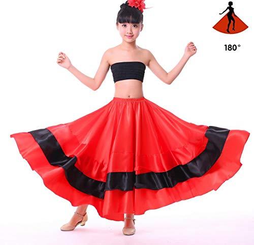 SMACO Spanische Kostüm Mädchen Lange rote Flamenco-Stil Kleid Ballsaal Rock für Mädchen Kind schwarz Tanzkleider Kostüme für Kinder - Spanischen Flamenco Tanz Kostüm