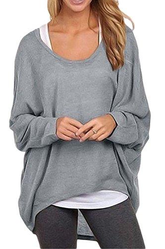 Fanvans Mujer Jersey Manga Larga Camisas murciélago Punto Suelto Tops Gray L