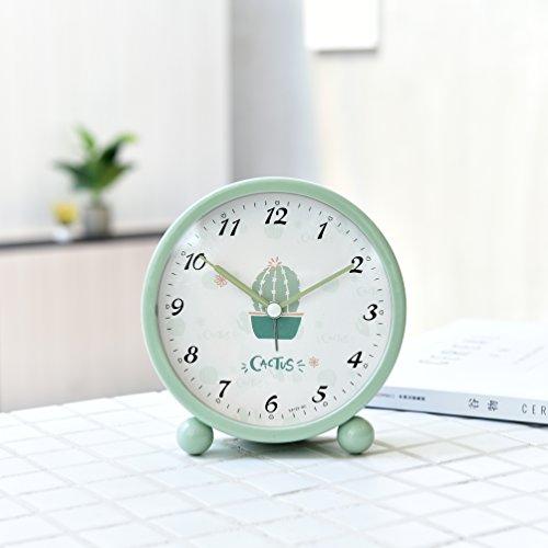 LILUO Wecker Einfacher Kaktus-Wecker Kreatives Stilles Nachtlicht Niedliches Kind Schüler-Nachttisch-Schlafzimmer Mini Clock Wecker 10cm, Hellgrün