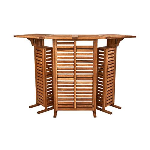 BUTLERS Turn Table Bar 150x52,5 in Braun - Bartisch aus FSC-Akazienholz - Klappbarer Bartresen, Stehtisch, Cocktailbar