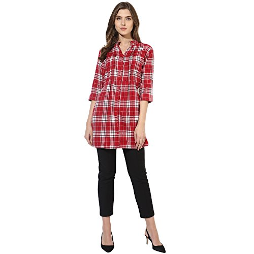 One Femme Women's Plaid Check Print Tunic (OFTNT012_Multicolor 24_Small)