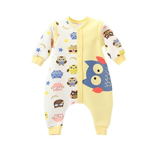 Bebé Saco de dormir Con Cremallera Piernas Separadas Mangas Extraíbles 1.5 Tog,Azul M