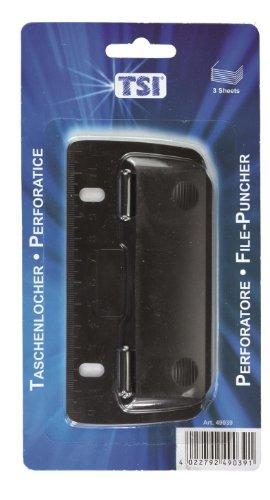 Taschenlocher Mini Locher mit Linealfunktion / Farbe: schwarz / abheftbar