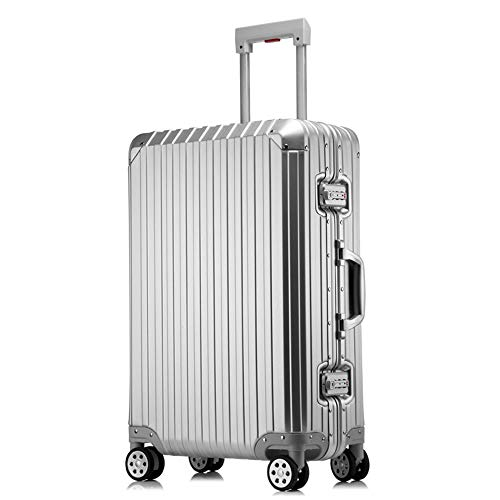 BAG Koffer aus Reiner Metall-Vollaluminium-Aluminiumlegierung für Rollgepäck für Männer und Frauen 20-Zoll-Trolley-Koffer-Boarding-Gepäck,Silver