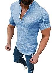 Chaofanjiancai - Camicia da Uomo in Lino, a Maniche Corte, con Bottoni, Colletto da Pesca, Tinta Unita, Estiva