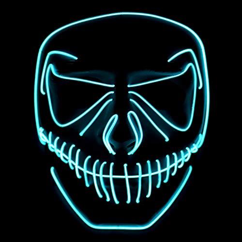 Wuudi LED Masken, Erschreckend LED Halloween Masken Für Festival,Cosplay,Halloween,Kostüm,Party (blau)
