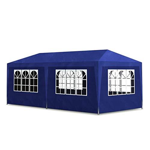 SOULONG Partyzelt, Gartenpavillon, Festzelt, Pavillon mit Seiten, wasserdichtes Zelt für Party, Familientreffungen (3 x 6 m), Blau