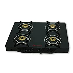 Quba B4 Toughened Black Glass 4 Burner Auto Ignition Gas Stove