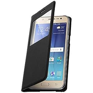 Housse, Étui S-View cover à fenêtre - Noir pour Samsung Galaxy J5
