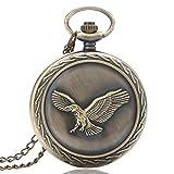 XY&DQ Reloj de Bolsillo Impresionante águila 3D Flying Bird Necklace Antique Vintage Cuarzo Relojes de Bolsillo Hombres Mujeres Colgante con Cadena Reloj de enfermería Artículo de Regalo, Bronce