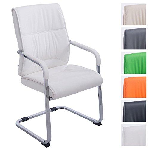 CLP XXL-Freischwinger Anubis mit Kunstlederbezug und gepolsterter Sitzfläche I Pflegeleichter Konferenzstuhl mit Armlehne Weiß