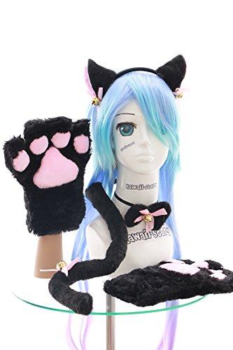 n Pfoten Handschuhe Schwanz Halsband Ohren Haarreif Set Lolita Maid Cosplay ()