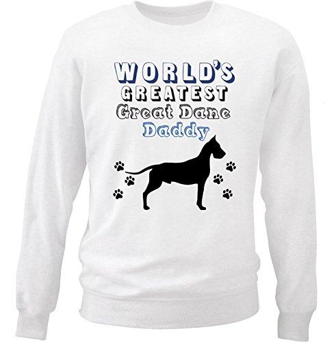 teesquare1st Men's Great Dane - World's Greatest Daddy White Sweatshirt Size Large (Great Sweatshirt Adult Dane)