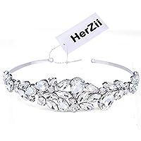 HerZii Wedding Tiara, Bridal Crown Tiara with Crystals Rhinestones for Wedding Proms Pageants Princess Parties Birthday gift