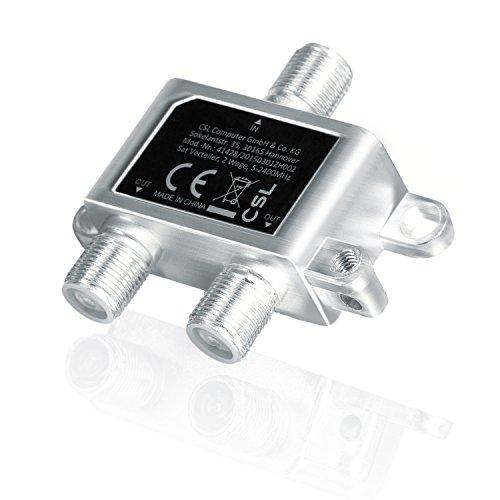 CSL – Ripartitore SAT completamente schermato (2 vie), 5-2400 MHz/digital-ready | Ripartitore 2 vie per impianti satellitari (SAT-TV/DVB-S2) + BK + Radio VHF | Presa DC | 5-2400 MHz
