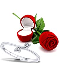 Peora Valentine's Day Gift Hamper Of Elegant Leaf Ring With Red Rose Gift Box For Girlfriend/Gift For Her/Gift...