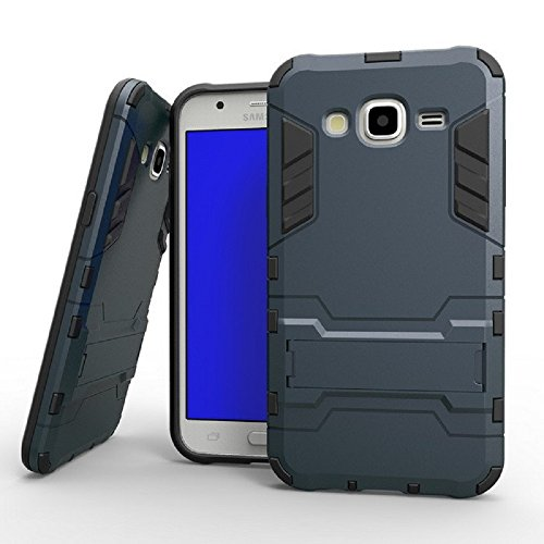 Heartly Graphic Designed Stand Hard Dual Rugged Armor Hybrid Bumper Back Case Cover For Samsung Galaxy J7 SM-J700F Dual Sim - Navy Black