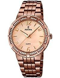 University Sports Press  F16797/1 - Reloj de cuarzo para mujer, con correa de acero inoxidable chapado, color marrón