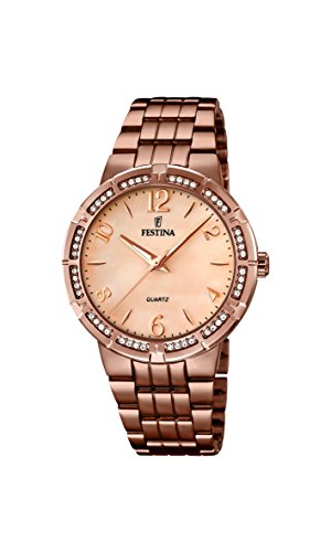 Festina Women's Quartz Watch with Rose Gold Dial Analogue Display and Brown Stainless Steel Plated Bracelet F16797/1