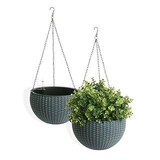 Algreen Self Watering Wicker Hanging Planter (2 pack), 10