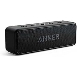 Anker Enceinte Bluetooth, SoundCore 2 Haut Parleur Portable sans fil avec basses puissantes, autonomie de 24 heures, porté Bluetooth de 20 m, étanche waterproof IPX5 et microphone intégré - Noir