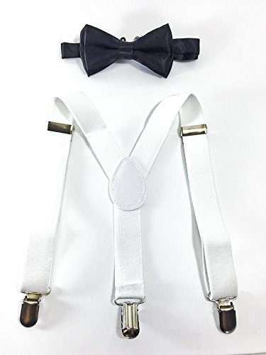 New Style Toddler Kids Boys Girls Child White Suspender Bow Tie (Black Bow Tie) by Four-seasonstore Boys Bow Tie