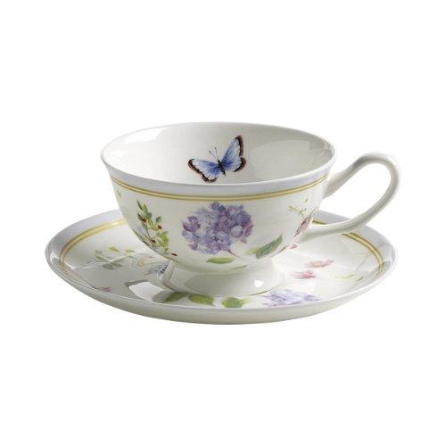 Maxwell & Williams S303101 Butterfly Garden Tasse mit Untertasse. Kaffeetasse, Becher, 180 ml, in Geschenkbox, Porzellan, blau (Butterfly Garden Teller)