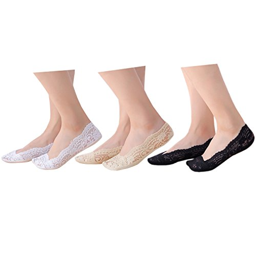 Ladies genuine anti-slip lace cotton footsies invisible low cut shoe liner