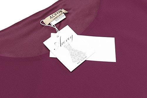 ACEVOG Damen Bluse 3/4 Ärmel Beiläufiger Chiffon Loose Fit Shirt Tops mit Rundhals A rose rot