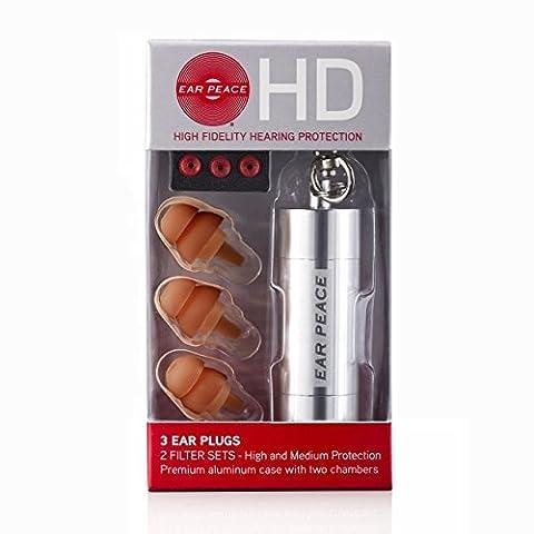 EarPeace HD High Fidelity Gehörschutz (Ohrstöpsel Braun / Schutztasche Silber)