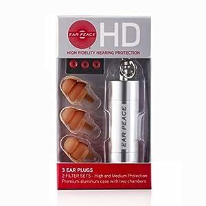 EarPeace HD: Protection Auditive Haute Fidélité (Bouchon D'oreille) (Bouchons Marrons/ Étui Argent)