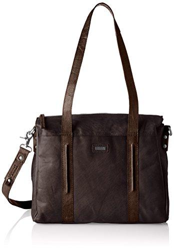 Spikes & Sparrow Damen Zip Bag Handgelenkstasche, Braun (Dark Brown), 11x28x35 cm