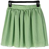 Sanzhileg Diseño de Moda de Las Mujeres Gasa Falda Corta Verano cómodo Color sólido Vestido de Doble Capa Gasa Vestido de Falda para Mujer - Verde