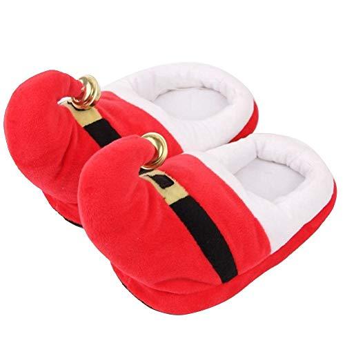 Unisex Hausschuhe Baumwolle Warme Weihnachten Slipper Schuhe für Liebhaber Familie Damen Dicke Socken Hausschuhe(Red 38-rot) (Pom Bootie)