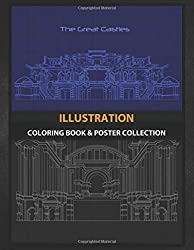 Coloring Book & Poster Collection: Illustration Blue Of The Great Castles In History Fantasy