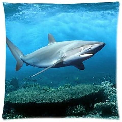 uk-jewelry Custom Cool tiburón en mar profundo con cremallera funda de almohada pillow Sham Throw Pillow Cojín caso cubierta 18x 18pulgadas