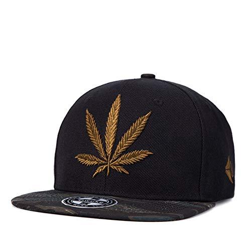Snapback Hiphop Cap Cannabis Marijuana Weed Leaf Flat Peak Baseball Caps, Super Star Snakeskin Hip Hop Bling Unisex Hats für Junge und Mädchen,Brass
